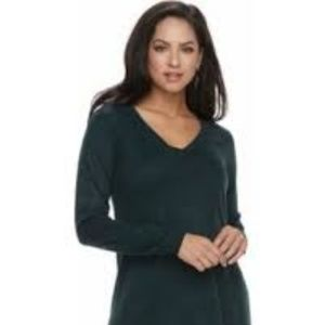 Apt. 9 Women's High Low Tunic V Neck Sweater (L)